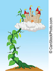 Cartoon Bean sprout with castle in