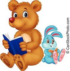 Cartoon bear and rabbit reading boo