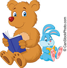 Cartoon bear and rabbit reading boo - Vector illustration of...
