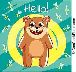 Vector illustration of cartoon bear. Hello.