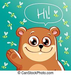 Vector illustration of cartoon bear. Hi
