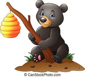 Cartoon bear holding branch