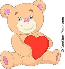 Cartoon bear holding heart
