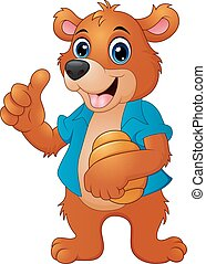 Cartoon bear holding honeycomb