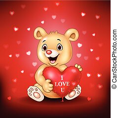 Cartoon bear holding red heart balloons
