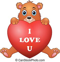 Cartoon bear holding red heart
