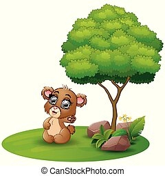Cartoon bear waving hand under a tree on a white background