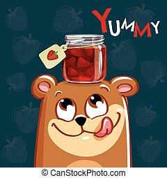 Vector illustration of cartoon bear with jam.