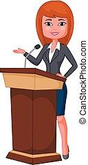 cartoon beautiful business woman giving a speech