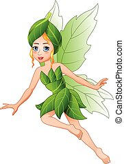 Cartoon beautiful flying fairy