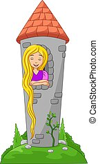 Vector illustration of Cartoon beautiful princess with long hair at a castle window