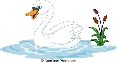 Cartoon beauty swan floats on water - Vector illustration of...