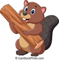 Cartoon beaver holding wood