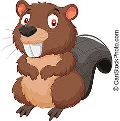 Cartoon beaver - vector illustration of Cartoon beaver