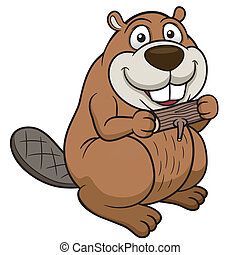 Cartoon beaver - Vector illustration of Cartoon beaver with...