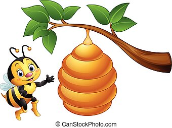Cartoon bee and a beehive