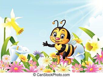 Cartoon bee sitting on flower