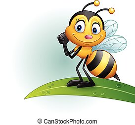 Cartoon bee standing on a leaf