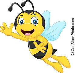 Cartoon bee waving hand