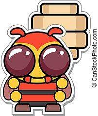 Cartoon Bee with Hive