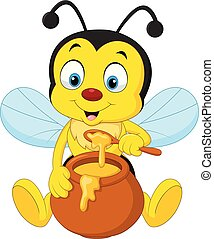 Cartoon bee with honey pot