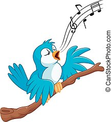Cartoon bird sing on the branch - Vector illustration of...