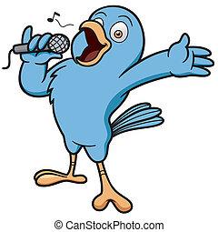Bird Singing - Vector illustration of Cartoon Bird Singing