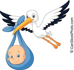 Cartoon bird Stork with baby - Vector illustration of...