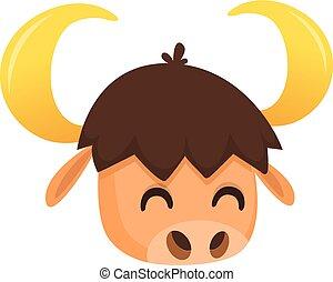 Vector illustration of Cartoon bison head