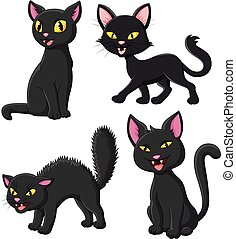 Cartoon black cat collection set