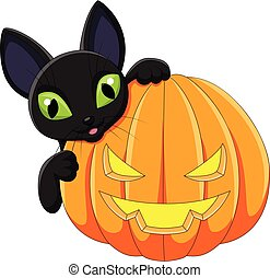 Cartoon black cat holding Halloween pumpkin
