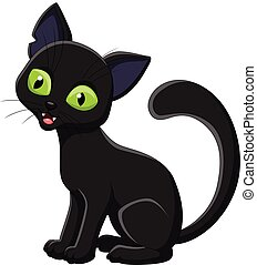 Cartoon black cat isolated on white background - Vector...