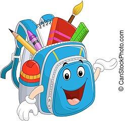 Cartoon blue bag waving