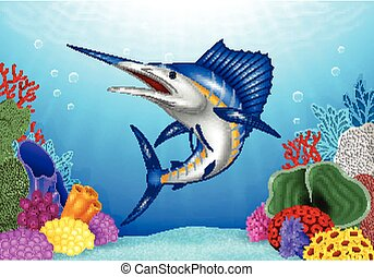 Cartoon Blue Marlin with Coral Reef - Vector illustration of...