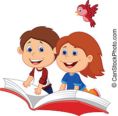 Cartoon Boy and girl flying on a bo