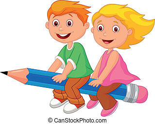 Cartoon boy and girl flying on a pe - Vector illustration of...