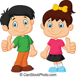 Cartoon boy and girl giving thumb u - vector illustration of...