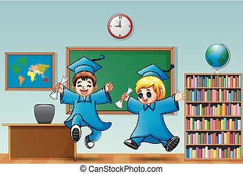 Cartoon boy and girl graduation in a classroom