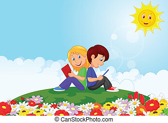 Cartoon Boy and girl reading book i