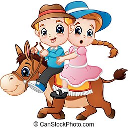 Cartoon boy and girl riding a horse