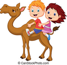 Cartoon Boy and girl riding camel - Vector illustration of...