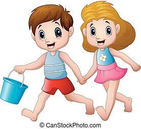 Cartoon boy and girl running