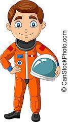 Cartoon boy astronaut holding helmet