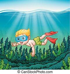 Cartoon boy diving underwater
