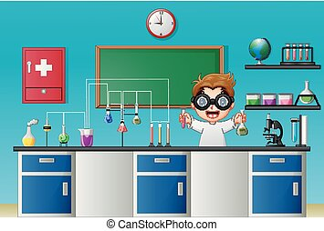 Cartoon boy doing chemical experiment in the laboratory
