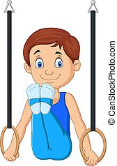 Cartoon boy doing gymnastics rings