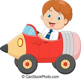 Cartoon boy driving a pencil car