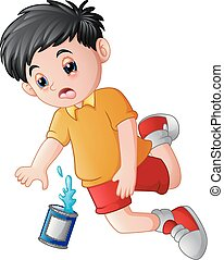 Cartoon boy falling down with cans
