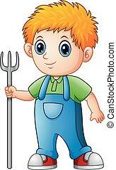 Cartoon boy farmer holding rake