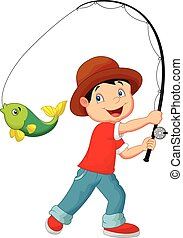 Cartoon Boy fishing